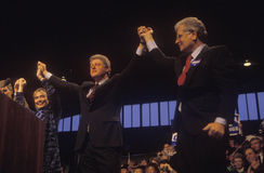Governor Bill Clinton and Governor Roy Romer at a Denver campaign rally in 1992 on his final day of campaigning in Denver, Colorad Royalty Free Stock Images