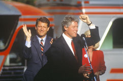 Governor Bill Clinton and Senator Al Gore on the 1992 Buscapade campaign kick off tour in Cleveland, Ohio Royalty Free Stock Images