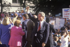 Governor Bill Clinton and Senator Al Gore on the 1992 Buscapade campaign tour in Cleveland, Ohio Stock Images