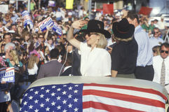 Governor Bill Clinton, Senator Al Gore, Hillary Clinton and Tipper Gore at the County Court House during the 1992 Buscapade campai Stock Photography