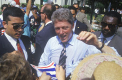 Governor Bill Clinton shakes hands at a rally. At a Mexican Independence Day celebration in 1992 at Baldwin Park, Los Angeles, California Royalty Free Stock Photography