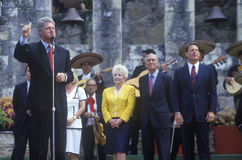 Governor Bill Clinton speaks at Arneson River during the Clinton/Gore 1992 Buscapade campaign tour in San Antonio, Texas Stock Image