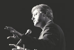 Governor Bill Clinton speaks at a New York rally Royalty Free Stock Images