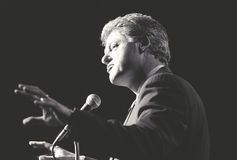 Governor Bill Clinton speaks at a New York rally during the Clinton/Gore campaign of 1992 Stock Image