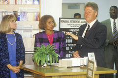 Governor Bill Clinton and wife Hillary attend a job training class at the Maxine Waters Employment Preparation Center in 1992 in S Stock Image