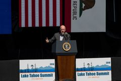 Governor Brown Speaking at 20th Annual Lake Tahoe Summit Royalty Free Stock Image