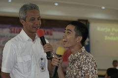 GOVERNOR OF CENTRAL JAVA TEACHING VOCATIONAL SCHOOL STUDENTS Stock Photos