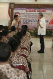 GOVERNOR OF CENTRAL JAVA TEACHING VOCATIONAL SCHOOL STUDENTS Stock Photography