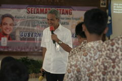 GOVERNOR OF CENTRAL JAVA TEACHING VOCATIONAL SCHOOL STUDENTS Royalty Free Stock Image