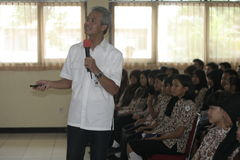GOVERNOR OF CENTRAL JAVA TEACHING VOCATIONAL SCHOOL STUDENTS Stock Photo