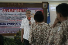 GOVERNOR OF CENTRAL JAVA TEACHING VOCATIONAL SCHOOL STUDENTS Stock Images