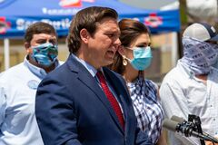Governor Florida Ron DeSantis with Casey DeSantis and Madison DeSantis will make a major announcement at Loggerhead Marinelife