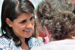 Governor Haley and Supporter. Governor Nikki Haley talks with a supporter. Tea Party Express:  Sep. 9, 2011 Greenville, SC Royalty Free Stock Photography