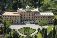 The Governor`s Palace in Vatican Gardens. The Seat of the Pontifical Commission for Vatican City State. stock image