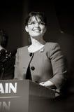 Governor Sarah Palin B&W. 09/09/08 - Lancaster, PA - Sarah Palin - Vice Presidential Hopeful, Governor Sarah Palin (R-AL), speaks to a crowd of thousands at a Royalty Free Stock Photos