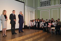 The Governor of St. Petersburg Georgy Poltavchenko at the graduation celebration of holiday in physico-mathematical Lyceum № 239 Royalty Free Stock Photography