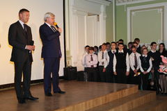 "The Governor of St. Petersburg Georgy Poltavchenko at the graduation celebration of holiday in physico-mathematical Lyceum â""– 239. Georgy Poltavchenko, the royalty free stock photo"