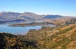 Governors Bay in Autumn, Christchurch, New Zealand. A perfect Autumn day overlooking Governors Bay and Lyttleton Harbour from the top of the Port Hills Stock Image