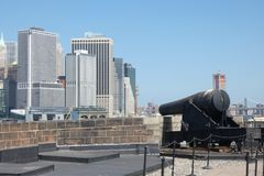 Governors Island. A cannon in Governors Island, which served as a defensive post during the American Revolutionary War, and is now a popular tourist destination Royalty Free Stock Images