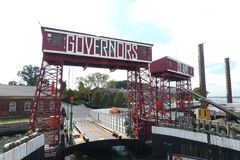 Governors Island. The ferry dock at Governors Island, a popular tourist destination in New York City Stock Images