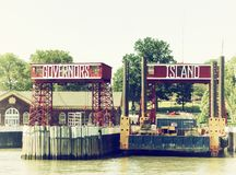 Governors island sign. Governors island pier entrance sign in new york United States Stock Photography