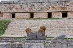 Governors Palace and Jaguar Throne in Uxmal Stock Image