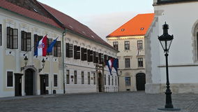 Governors Palace in Zagreb, Croatia. Banski dvori or Governors Palace at St. Mark's Square in Zagreb is the seat of the Croatian Government and also houses the stock video footage