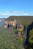 Govetts Leap Falls descending into the Grose Valley located with Royalty Free Stock Photos