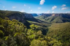 Govetts Leap Lookout, Blackheath, Blue Mountains. National Park, New South Wales, Australia. The vast gorge was shaped by Grosse stream eroding through the Royalty Free Stock Image