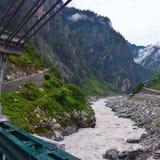 Govindghat的, Uttarakhand,印度河Alaknanda 免版税库存图片