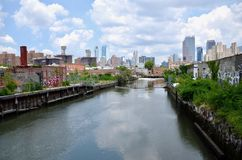 Gowanus Canal. The Gowns Canal in Brooklyn in New York City. The canal was long used for chemical dumping and became the site of a super fund cleanup. Recent stock images