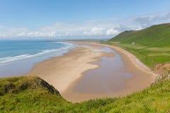 Gower海岸罗西里南威尔士一最佳的海滩在英国 免版税图库摄影