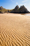 海湾峭壁gower三英国威尔士 免版税库存照片