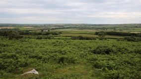 The Gower countryside view from Ryers Down South Wales UK PAN stock video