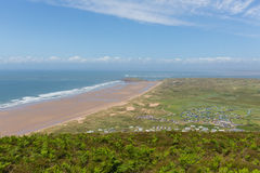 The Gower peninsula coast Wales UK in summer with caravans and camping Stock Image