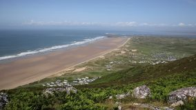 The Gower peninsula South Wales UK Rhossili beach and coast stock footage