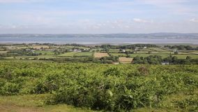 The Gower peninsula South Wales UK view of Welsh countryside from Cefn Bryn hill stock video