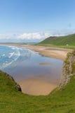 Gower South Wales Rhossili en av de bästa stränderna i UK Arkivfoto
