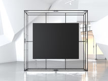 Gowing showcase with blank black canvas. 3d rendering Royalty Free Stock Photos