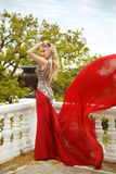 Gown. Beautiful sexy young woman model in elegant mermaid blowin Stock Photos