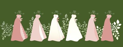 Gowns. Row of dresses / gowns all similar yet different  wedding grad formal Royalty Free Stock Photo