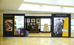 Goyard luggage. Goyard's luggage of fame pop-up at pacific place shopping mall in hong kong. with display of luggage and trunks used by famous celebrities such Stock Image