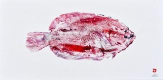 Goyutaku Fish Print 4. Goyutaku Japanese Fish Printing Rubbing Flounder stock photos