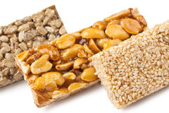 Gozinaki - traditional Georgian confection. Honey bars with peanuts, sesame and sunflower seeds Stock Photos