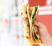 Gozleme. Turkish flatbread with greens Stock Image