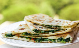 Gozleme. Turkish flatbread with greens Royalty Free Stock Photography