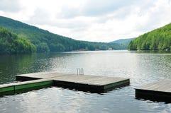 Gozna lake. Romania valiug village three waters gozna lake landscape pontoon Royalty Free Stock Photo