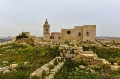 Gozo ö, Malta, citadell Arkivbild