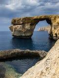 Gozo Azure Window with Blue Hole. Gozo Azure Window with the Blue Hole Royalty Free Stock Photo