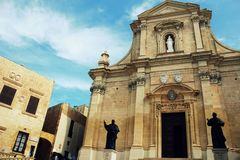The Gozo Cathedral inside the Citadel of Victoria or Rabat - Victoria, Gozo, Malta.  Stock Image